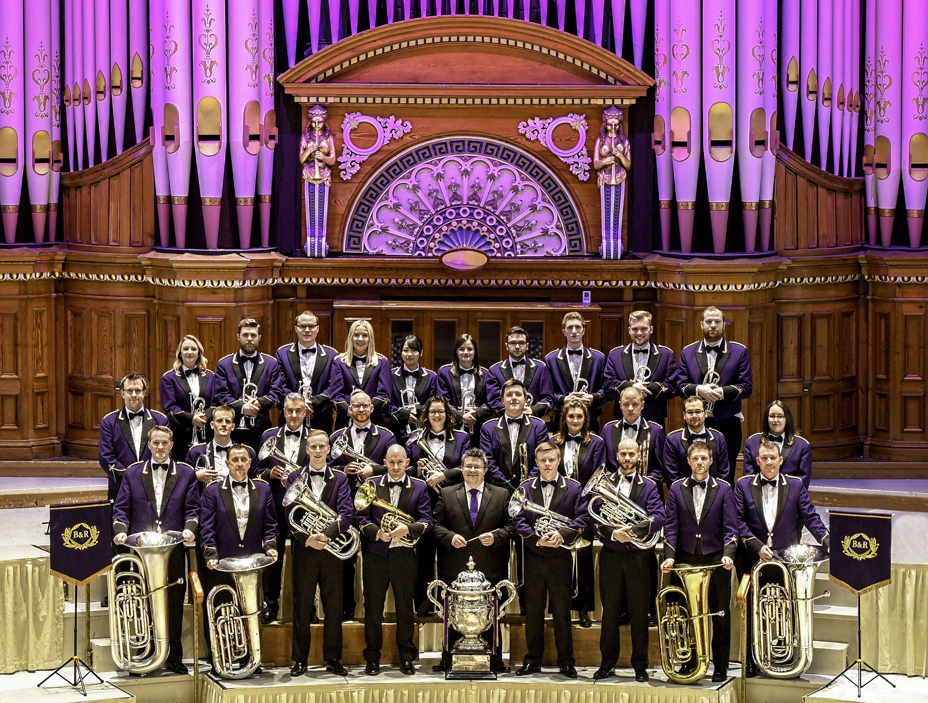 The National Brass Band Champions Brighouse & Rastrick with their Musical Director David Thornton